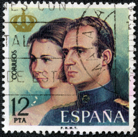 carlos: SPAIN - CIRCA 1975  A stamp printed in Spain from the  Proclamation of King Juan Carlos I  issue shows King Juan Carlos and Queen Sophia, circa 1975