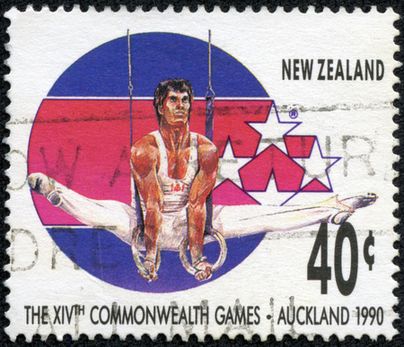 NEW ZEALAND - CIRCA 1989  A stamp printed in New Zealand, shows Gymnast at 14th Commonweath Games in Auckland in 1990, circa 1989