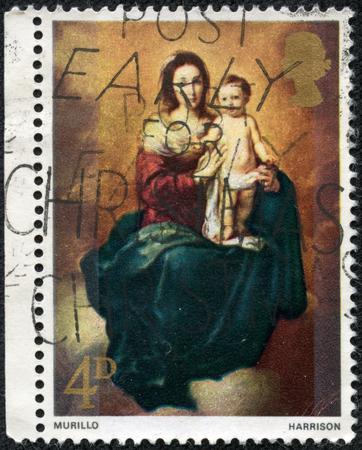 bartolome: GREAT BRITAIN - CIRCA 1968  A stamp printed in the Great Britain shows Madonna and Child, by Bartolome Esteban Murillo, circa 1968 Editorial
