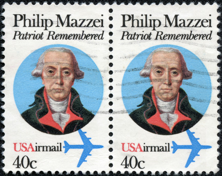 the statesman: UNITED STATES OF AMERICA - CIRCA 1980  a stamp printed in the USA shows Philip Mazzei, Italian physician and a promoter of liberty, dedicated to the 250th anniversary of the birth, circa 1980