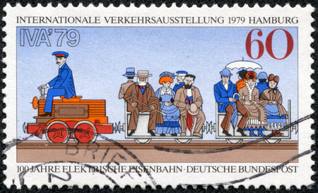GERMANY - CIRCA 1979  A stamp printed in Germany, is dedicated to International Transportation Exhibition, Hamburg, shows First Electric Train, 1879 Berlin Exhibition, circa 1979