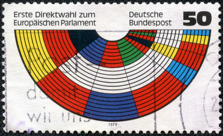 GERMANY - CIRCA 1979  a stamp printed in the Germany shows Parliament Benches in Flag Colors of Members, European Parliament, First Direct Elections, circa 1979