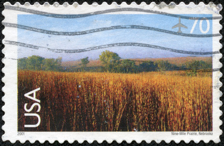 UNITED STATES OF AMERICA - CIRCA 2001  a stamp from the USA shows image of Nine-Mile Prairie in Nebraska, circa 2001 photo