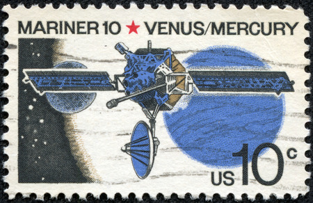 mariner: UNITED STATES OF AMERICA - CIRCA 1975: a stamp printed in the USA shows Mariner 10, Venus and Mercury, US Robotic Space Probe, circa 1975