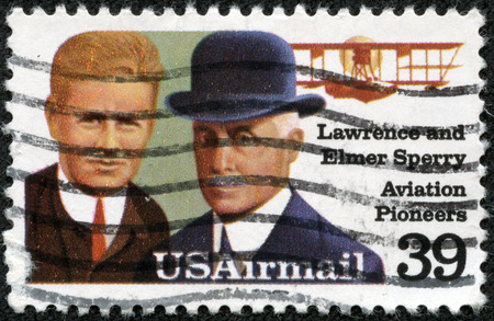usps: USA - CIRCA 1985: A stamp printed in USA shows Lawrence and Elmer Sperri, Aviation Pioneers, Great people of United States, a series of 15 stamps, circa 1985