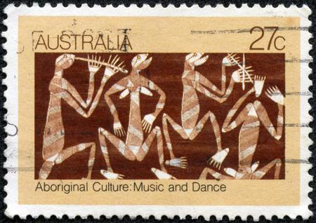 AUSTRALIA - CIRCA 1982: a stamp printed in the Australia shows Mimi Spirits Singing and Dancing, by David Millaybuma, Aboriginal Bark Painting, circa 1982