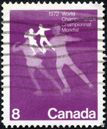 """CANADA - CIRCA 1972: A stamp printed in Canada shows Figure Skating, with inscriptions and name of series \\ \ """"World Figure Skating Championships, 1972 \\\"""", circa 1972"""