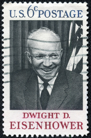 eisenhower: USA - CIRCA 1969: A postage stamp printed in USA, shows the 34th President of the United States, Gen. Dwight D. Eisenhower, circa 1969