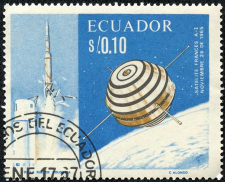 asterix: ECUADOR - CIRCA 1966: A stamp printed in Ecuador shows the first French satellite A-1 (Asterix), circa 1966. Editorial