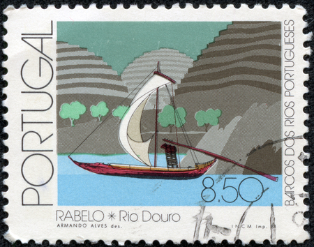 rabelo: PORTUGAL - CIRCA 1981  a stamp printed in the Portugal shows Rabelo, Douro River, circa 1981