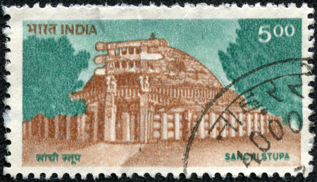 monument in india: INDIA - CIRCA 1994  a stamp printed in India shows Sanchi Stupa, Oldest Stone Structure in India, Buddhist Monument, circa 1994 Stock Photo