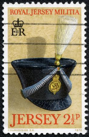 militia: JERSEY - CIRCA 1972  Stamp printed in Jersey dedicated to Royal Jersey Militia, circa 1972 Stock Photo