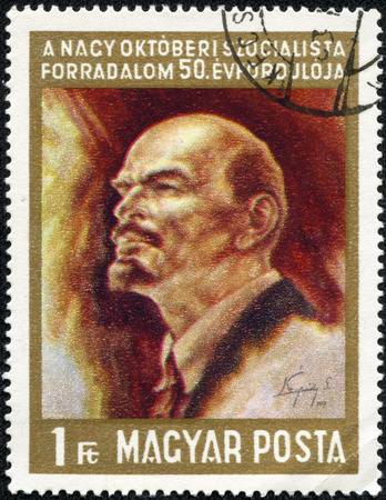 HUNGARY -CIRCA 1967  Lenin was a Russian revolutionary, Bolshevik leader, communist politician, principal leader of the October Revolution, circa 1967