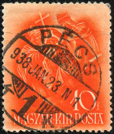 archbishop: HUNGARY - CIRCA 1937: stamp printed by Hungary, shows Pope Sylvester II, Archbishop Astrik, circa 1937 Editorial