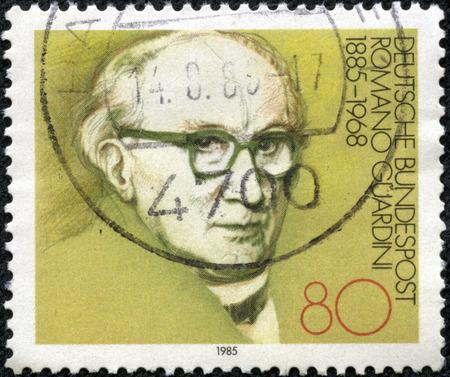 theologian: GERMANY - CIRCA 1985: stamp printed by Germany, shows Romano Guardini Theologian, circa 1985.