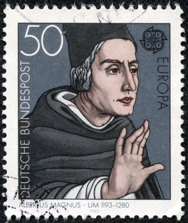 bundespost: GERMANY - CIRCA 1980: a stamp printed in the Germany shows Albertus Magnus, Dominican Friar and Bishop, Philosopher and Theologian, circa 1980