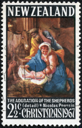 NEW ZEALAND - CIRCA 1967: A stamp printed in New Zealand shows The adoration of the shepherds (detail), Nicolas Poussin, circa 1967
