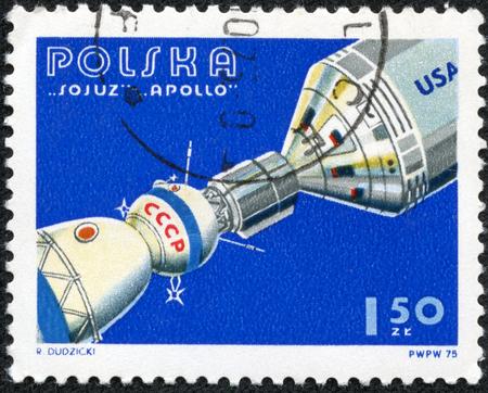 soyuz: POLAND - CIRCA 1975: A stamp printed in Poland shows Apollo and Soyuz Linked in Space, circa 1975