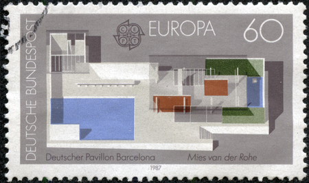 ludwig: GERMANY - CIRCA 1987: A stamp printed in Germany shows the German Pavilion, designed by Ludwig Mies van der Rohe, 1928 World Fair, Barcelona, circa 1987