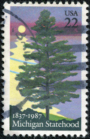 USA - CIRCA 1987: A postage stamp printed in the USA, is dedicated to Michigan Statehood sesquicentennial, shows White Pine, circa 1987 photo