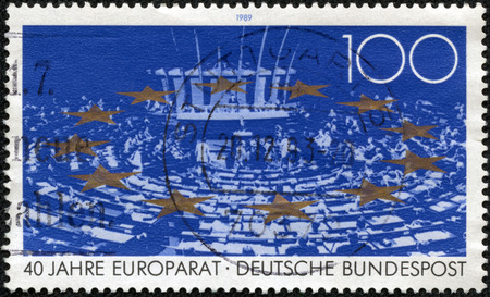 congressional: GERMANY - CIRCA 1989: a stamp printed in the Germany shows Parliamentary Assembly, Stars, Council of Europe, 40th Anniversary, circa 1989