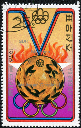NORTH KOREA - CIRCA 1976  A stamp printed in North Korea from the  Olympic Medal Winners  1st issue shows Gold medal  marathon, Waldemar Cierpinski , circa 1976
