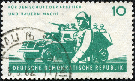 infantry: GERMANY- CIRCA 1962  stamp printed by Germany, shows Motorized infantry, circa 1962 Stock Photo