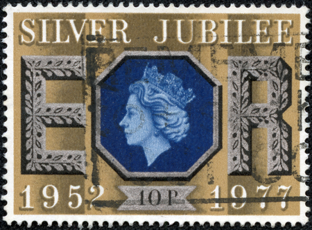 reign: GREAT BRITAIN CIRCA 1977  a stamp printed in the Great Britain shows Queen Elizabeth II, 25th anniversary of the reign of Elizabeth II, circa 1977 Editorial