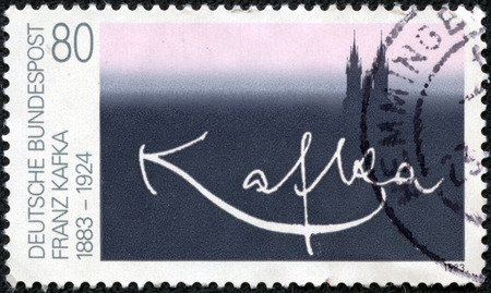 franz: GERMANY - CIRCA 1983  A stamp printed in Germany dedicated to one hundred years of Franz Kafka s birth, circa 1983