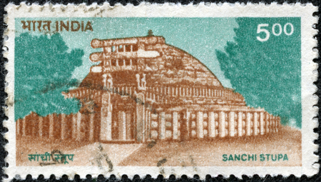 sanchi: INDIA - CIRCA 1994  a stamp printed in India shows Sanchi Stupa, Oldest Stone Structure in India, Buddhist Monument, circa 1994 Stock Photo