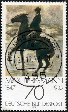 GERMANY - CIRCA 1978  A stamp printed in Germany from the  Impressionist Paintings  issue shows  Horseman on the shore turning left  by Max Liebermann  1847-1935 , circa 1978  Stock Photo