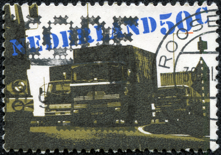 haulage: NETHERLANDS - CIRCA 1980  A stamp printed in Netherlands shows Road Haulage, circa 1980