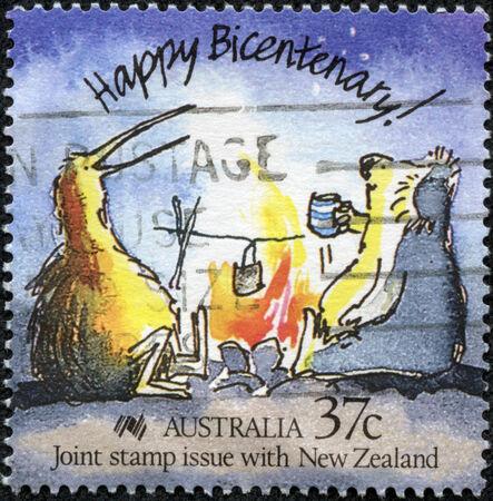 AUSTRALIA - CIRCA 1988  Stamp printed in Australia showing Happy Bicentenary with funny Caricature of an Australian koala and New Zealand kiwi, circa 1988