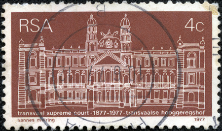 philatelic: SOUTH AFRICA - CIRCA 1977  A stamp printed in South Africa shows image celebrating 100 years of Transvaal Supreme Court, series, circa 1977