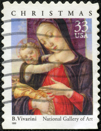 USA - CIRCA 1999  Postage stamps printed in USA, Christmas Issue, shows a picture of the National Gallery of Art,  Madonna and Child  by Bartolomeo Vivarini, circa 1999