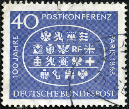 bundespost: GERMANY - CIRCA 1963  A stamp printed in Germany, shows Arms of 18 Participating Countries, Paris Conference, 1863, circa 1963