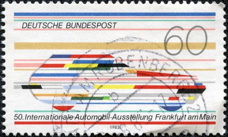 FEDERAL REPUBLIC OF GERMANY - CIRCA 1983  A stamp printed in the Federal Republic of Germany shows 50 Internationale Automobil-Ausstellu ng Frankfurt am Main, circa 1983