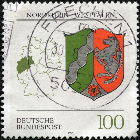 rhine westphalia: GERMANY - CIRCA 1993  a stamp printed in the Germany shows Coat of Arms, North Rhine-Westphalia, State of the Federal Republic of Germany, circa 1993