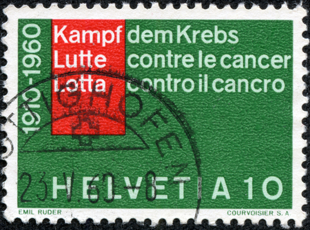 stempeln: SWITZERLAND - CIRCA 1960  A stamp printed in Switzerland from the  Fight against cancer  issue shows inscription in 3 languages, circa 1960