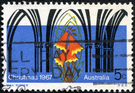 AUSTRALIA - CIRCA 1967  A Stamp printed in AUSTRALIA shows the Gothic Arches and Christmas Bell Flower, Christmas issue, circa 1967 photo
