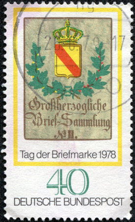 GERMANY - CIRCA 1978  A stamp printed in the Germany, dedicated to the Stamp Day and German Philatelists Meeting, Frankfurt am Main, is shown Baden Posthouse Sign, circa 1978