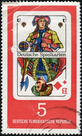 knave: GERMANY - CIRCA 1967  stamp printed in Germany, shows German Playing Cards Georg Herwegh, poet, circa 1967  Editorial