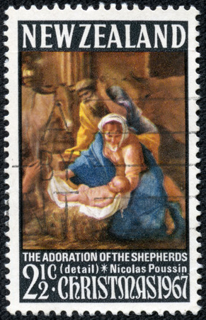 NEW ZEALAND - CIRCA 1967  A stamp printed in New Zealand shows The adoration of the shepherds  detail , Nicolas Poussin, circa 1967