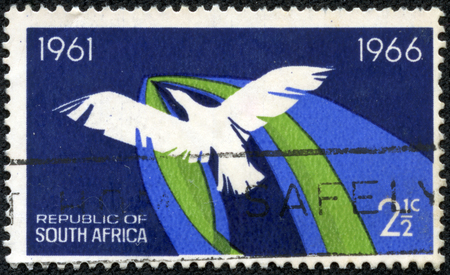 SOUTH AFRICA-CIRCA 1966  A stamp printed in the South Africa, dedicated to 5 th anniversary of the Republic, shows the flight of a bird, a symbol of freedom, circa 1966