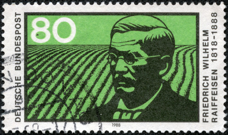 friedrich: GERMANY - CIRCA 1988  a stamp printed in the Germany shows Friedrich Wilhelm Raiffeisen, German Major and Cooperative Pioneer, circa 1988