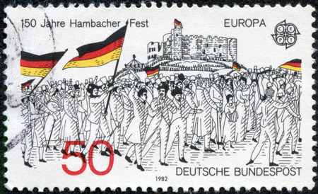 GERMANY - CIRCA 1982  A stamp printed in Germany from the  Europa  issue shows the rally to Hambach Castle, 1832  wood engraving , circa 1982  Editorial