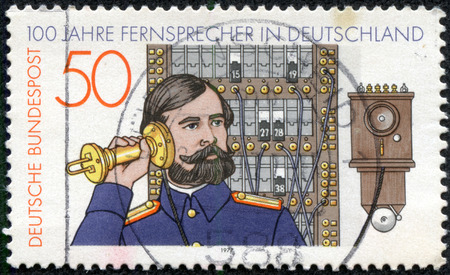 GERMANY - CIRCA 1977  stamp printed in Germany shows telephone operator, circa 1977
