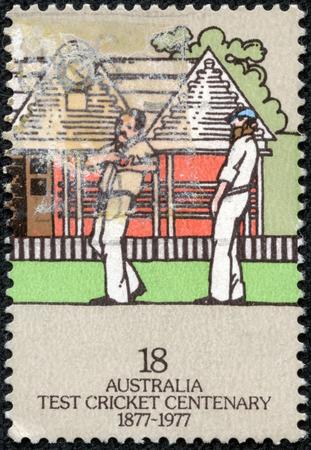 AUSTRALIA - CIRCA 1977  A Stamp printed in AUSTRALIA shows the Fielders, Centenary of Test Cricket, series, circa 1977
