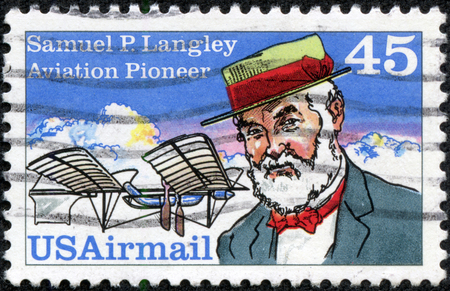 USA - CIRCA 1991 a stamp printed in USA shows image of the Samuel Pierpont Langley was an American astronomer, physicist, inventor of the bolometer and pioneer of aviation, circa 1991