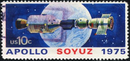 soyuz: UNITED STATES - CIRCA 1975  A stamp printed in USA shows space satellite, apollo soyuz, circa 1975 Editorial